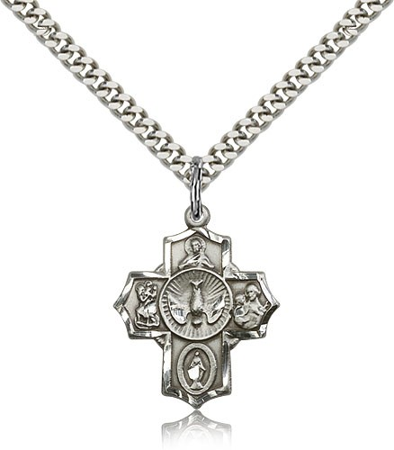 Men's Smaller 5-Way Pendant with Dove Center - Sterling Silver