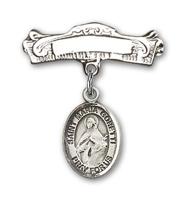 Pin Badge with St. Maria Goretti Charm and Arched Polished Engravable Badge Pin - Silver tone