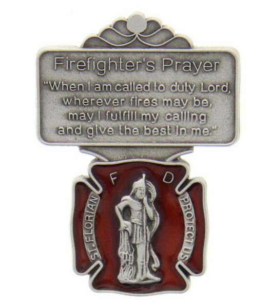 "St. Florian Firefighter Prayer Visor Clip, Red Enamel, Pewter - 2 1/8""H - Silver 