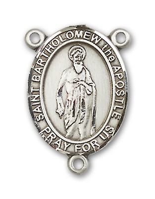 St. Bartholomew the Apostle Rosary Centerpiece Sterling Silver or Pewter - Sterling Silver