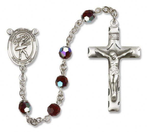 St. Christopher Dance Rosary Heirloom Squared Crucifix - Garnet