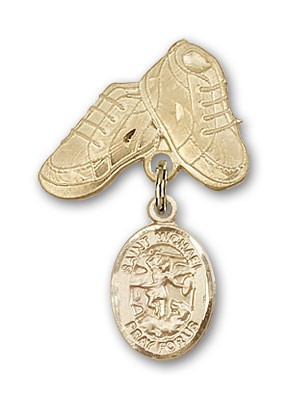Pin Badge with St. Michael the Archangel Charm and Baby Boots Pin - Gold Tone