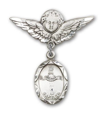 Baby Pin with Baptism Charm and Angel with Larger Wings Badge Pin - Silver tone