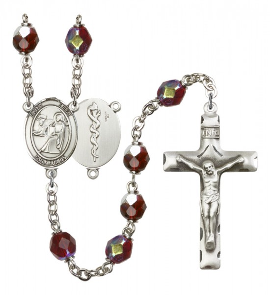 Men's St. Luke the Apostle Doctor Silver Plated Rosary - Garnet