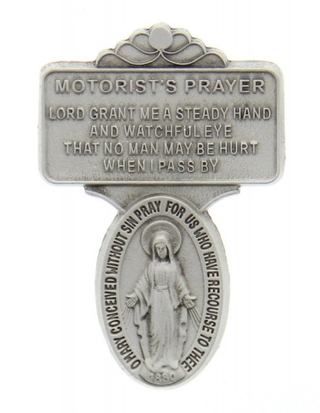"Miraculous Medal Visor Clip, Pewter - 2 1/2""H - Silver"
