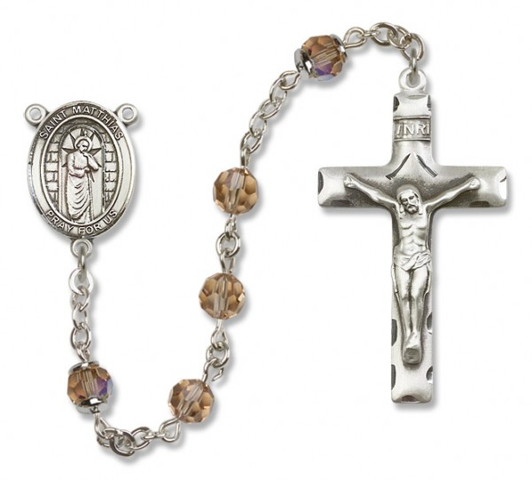 St. Matthias the Apostle Sterling Silver Heirloom Rosary Squared Crucifix - Topaz