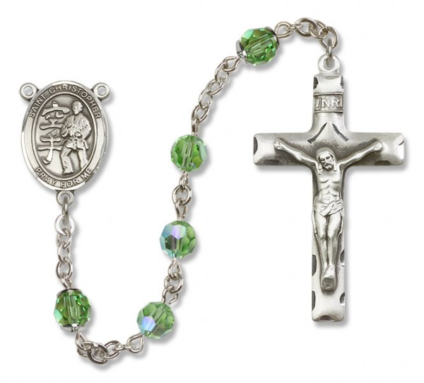 St. Christopher Karate Rosary Heirloom Squared Crucifix - Peridot