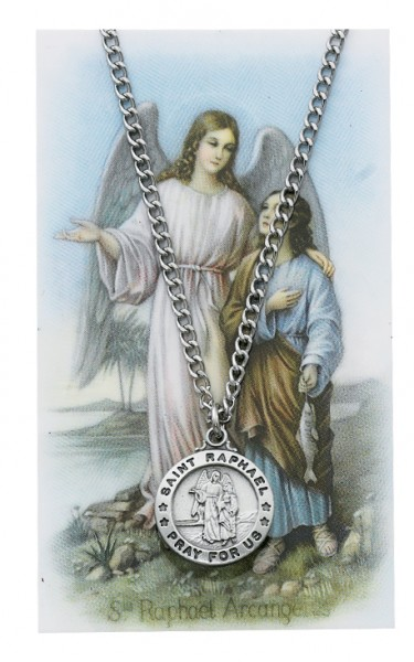 Round St. Raphael the Archangel Medal with Prayer Card - Silver tone