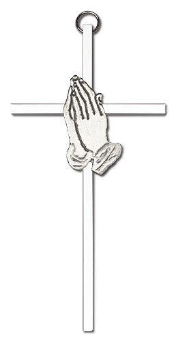 "Praying Hands Wall Cross 6"" - Silver tone"