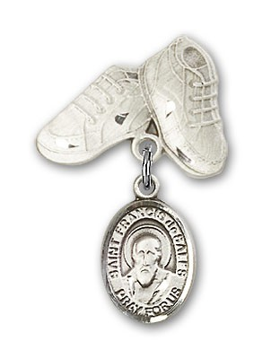 Pin Badge with St. Francis de Sales Charm and Baby Boots Pin - Silver tone