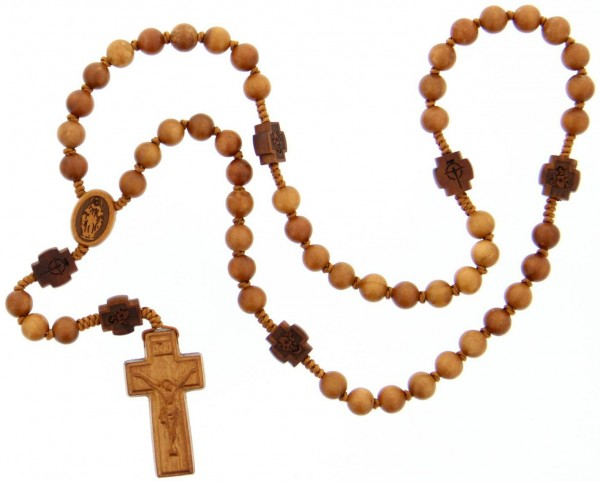 Jujube Wood 5 Decade Rosary - 8mm - Brown