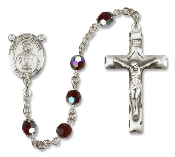 St. Peter Chanel Sterling Silver Heirloom Rosary Squared Crucifix - Garnet