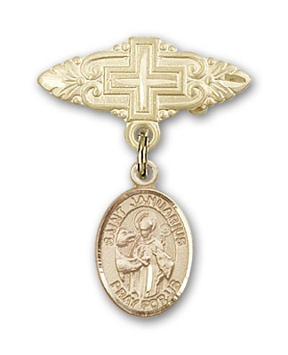 Pin Badge with St. Januarius Charm and Badge Pin with Cross - 14K Solid Gold