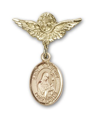 Pin Badge with St. Gertrude of Nivelles Charm and Angel with Smaller Wings Badge Pin - 14K Solid Gold