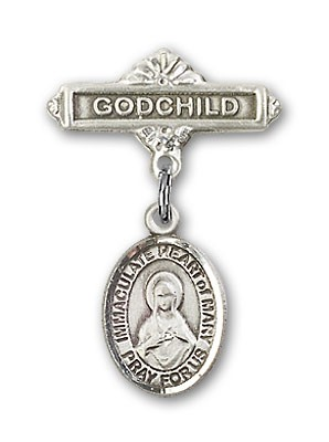 Baby Badge with Immaculate Heart of Mary Charm and Godchild Badge Pin - Silver tone