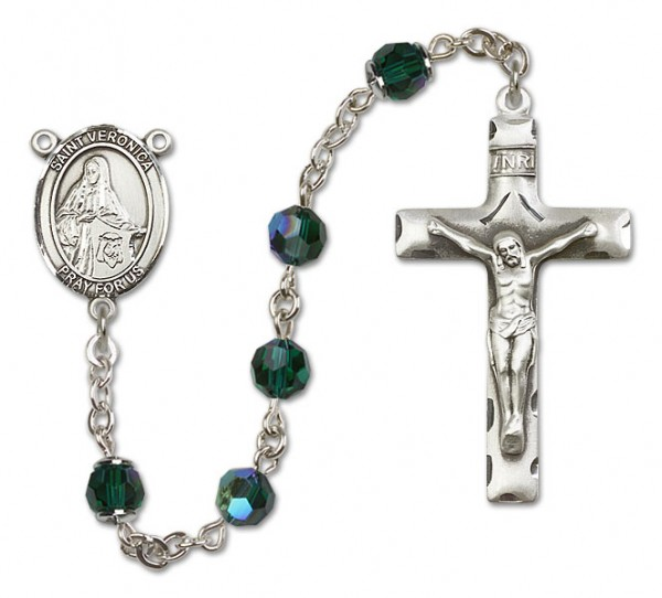 St. Veronica Sterling Silver Heirloom Rosary Squared Crucifix - Emerald Green