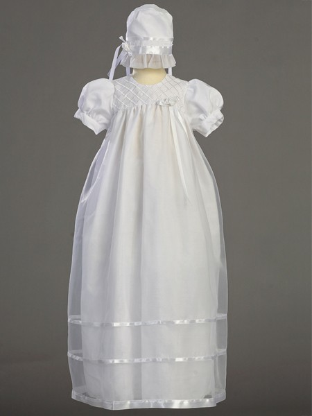Long Length Ribbon Baptism Gown - White