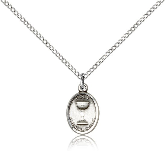 Oval Chalice First Communion Pendant - Sterling Silver