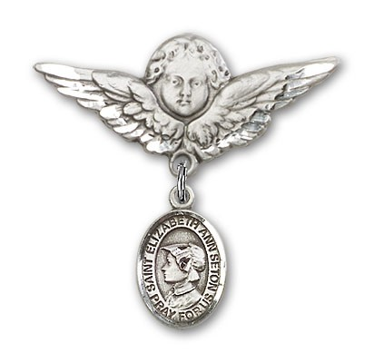 Pin Badge with St. Elizabeth Ann Seton Charm and Angel with Larger Wings Badge Pin - Silver tone