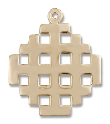 Men's Large Jerusalem Cross Pendant - 14K Solid Gold