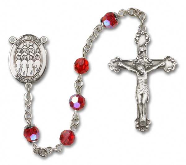St. Cecilia with Choir Sterling Silver Heirloom Rosary Fancy Crucifix - Ruby Red