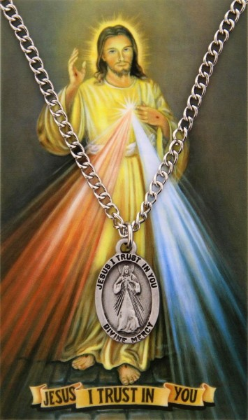 Oval Divine Mercy Medal with Prayer Card - Silver tone