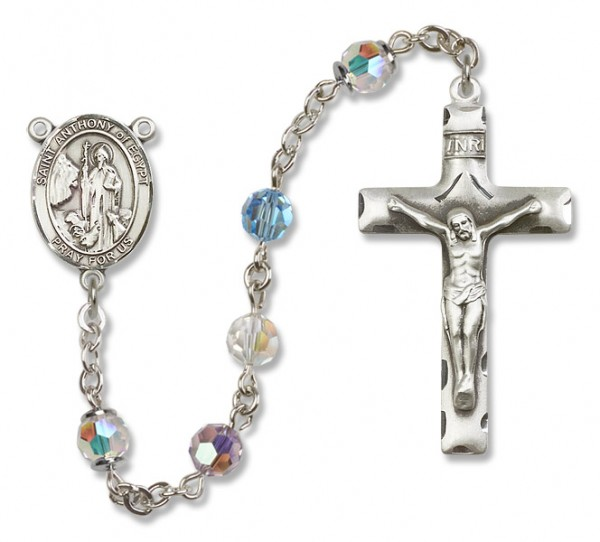 St. Anthony of Egypt Rosary Heirloom Squared Crucifix - Multi-Color