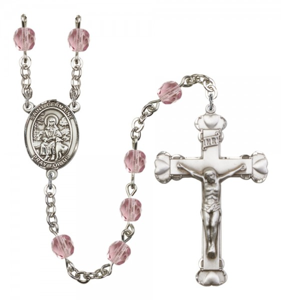 Women's St. Germaine Cousin Birthstone Rosary - Light Amethyst