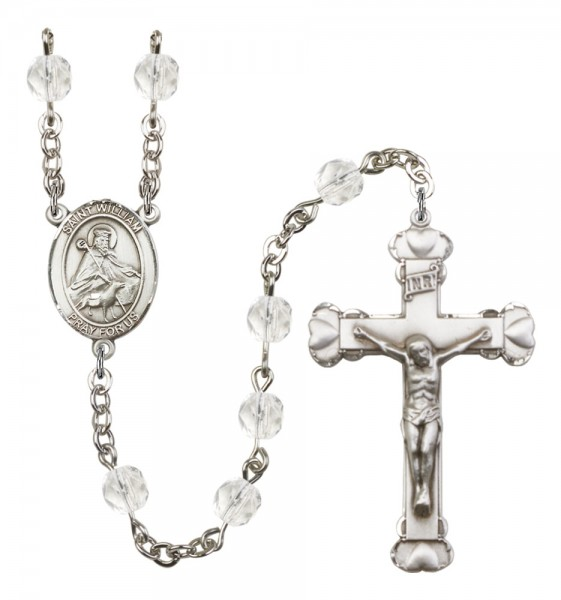 Women's St. William of Rochester Birthstone Rosary - Crystal