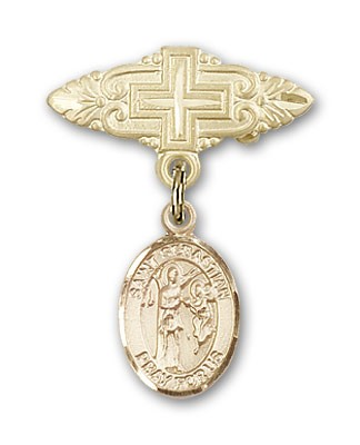 Pin Badge with St. Sebastian Charm and Badge Pin with Cross - Gold Tone