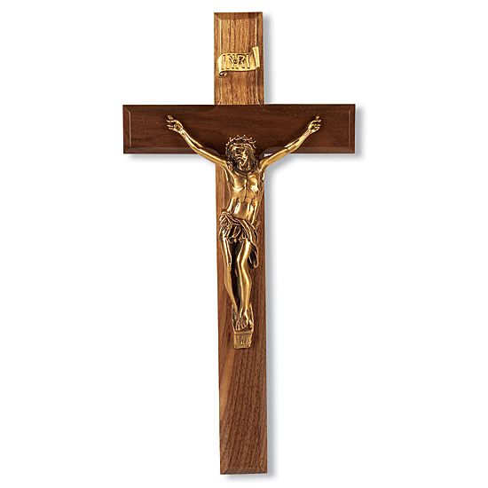Traditional Walnut Wall Crucifix - 12 inch - Brown
