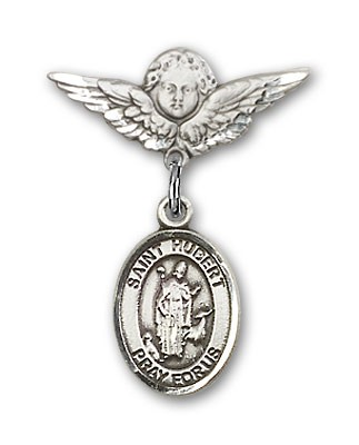 Pin Badge with St. Hubert of Liege Charm and Angel with Smaller Wings Badge Pin - Silver tone