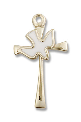 Cross with Holy Spirit Pendant - 14K Solid Gold