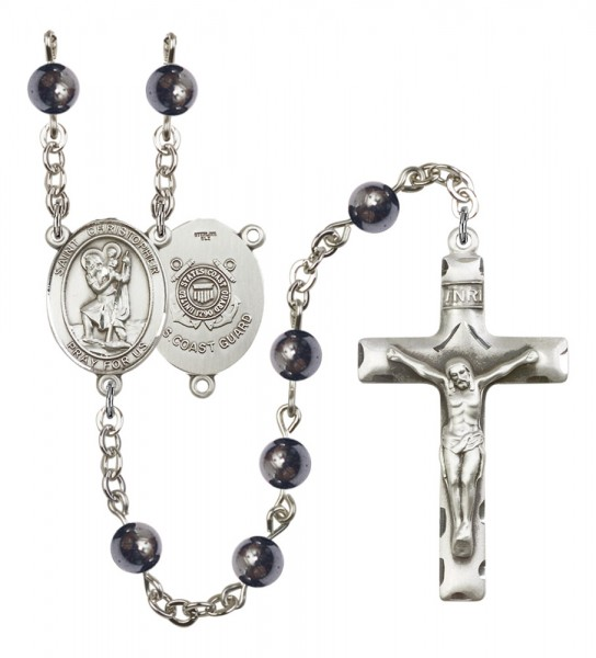 Men's St. Christopher Coast Guard Silver Plated Rosary - Gray