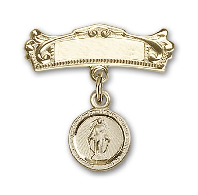 Baby Pin with Miraculous Charm and Arched Polished Engravable Badge Pin - Gold Tone