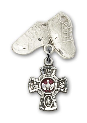 Baby Badge with Red 5-Way Charm and Baby Boots Pin - Silver | Red