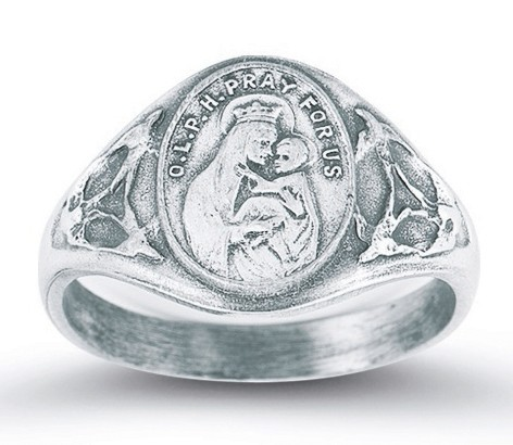 Women's Our Lady of Mt. Carmel Ring Sterling Silver - Silver