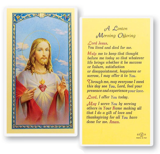 A Lenten Morning Offering Laminated Prayer Cards 25 Pack - Full Color