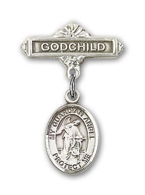 Baby Badge with Guardian Angel Charm and Godchild Badge Pin - Silver tone