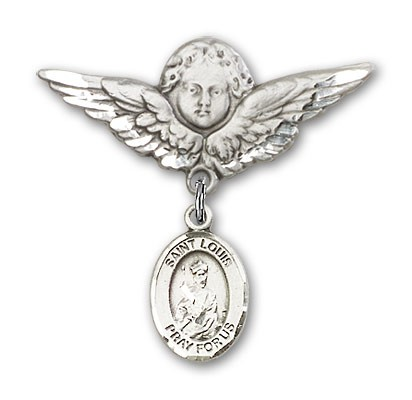 Pin Badge with St. Louis Charm and Angel with Larger Wings Badge Pin - Silver tone