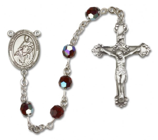 St. Thomas of Villanova Rosary Heirloom Fancy Crucifix - Garnet