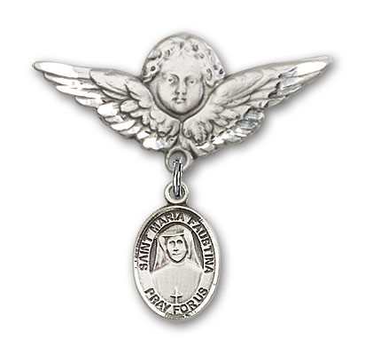 Pin Badge with St. Maria Faustina Charm and Angel with Larger Wings Badge Pin - Silver tone