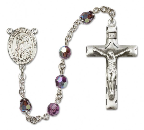 St. Adrian of Nicomedia Sterling Silver Heirloom Rosary Squared Crucifix - Amethyst