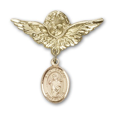 Pin Badge with St. Aedan of Ferns Charm and Angel with Larger Wings Badge Pin - 14K Yellow Gold
