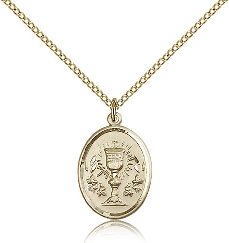 Oval First Communion Medal with Chalice - 14KT Gold Filled