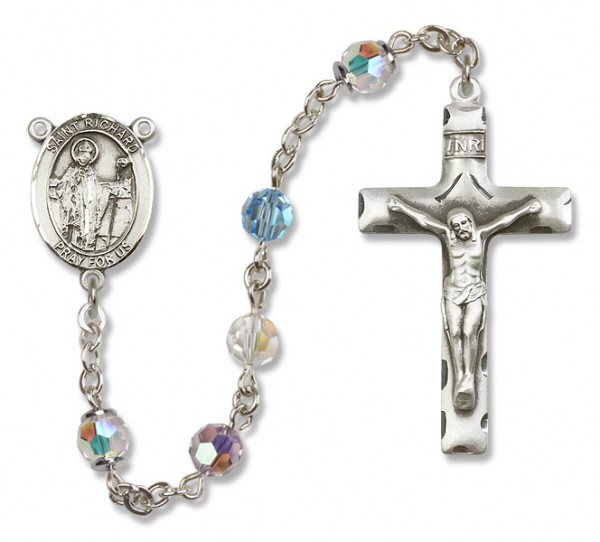 St. Richard Sterling Silver Heirloom Rosary Squared Crucifix - Multi-Color