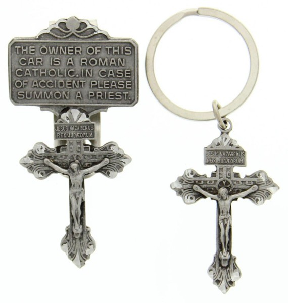 Crucifix Key Chain and Visor Clip Gift Set, Pewter - Pewter