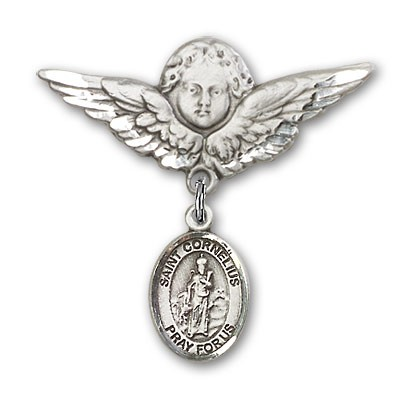 Pin Badge with St. Cornelius Charm and Angel with Larger Wings Badge Pin - Silver tone