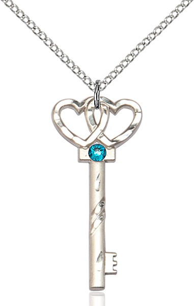 Small Key with Double Heart Pendant and Birthstone - Zircon