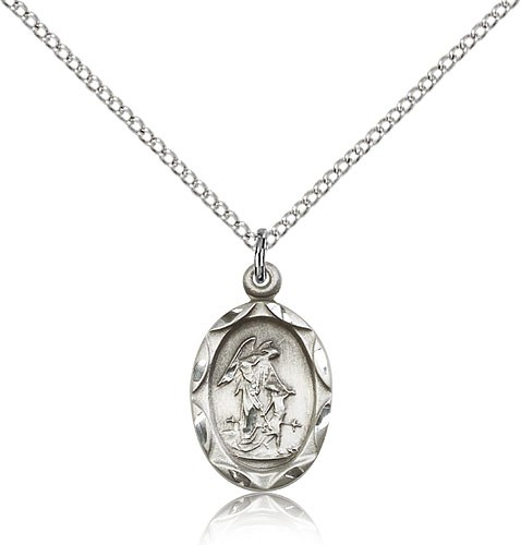 Guardian Angel Oval Pendant - Sterling Silver